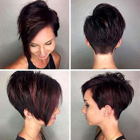 Deep-Pink-Textured-Black-hair Trendy Short Haircuts for Women