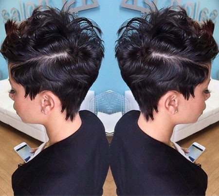 Disconnected-Pixie Short Haircuts for Black Women