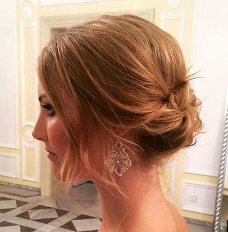 Low-Bun-for-Short-Hair Short Hairstyles for Prom