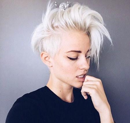 Messy-Pixie Best Short White Blonde Hair