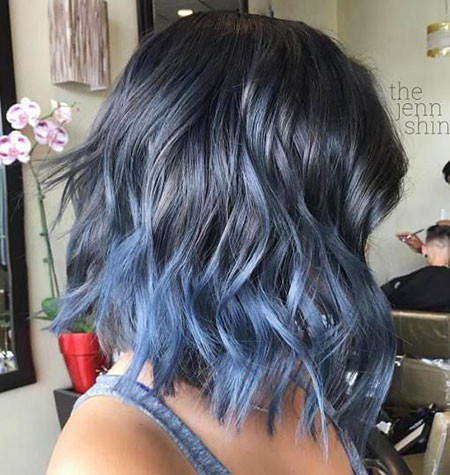 Ocean-Blue-Ombre-on-Black-Mane Amazing Short Ombre Hairstyles