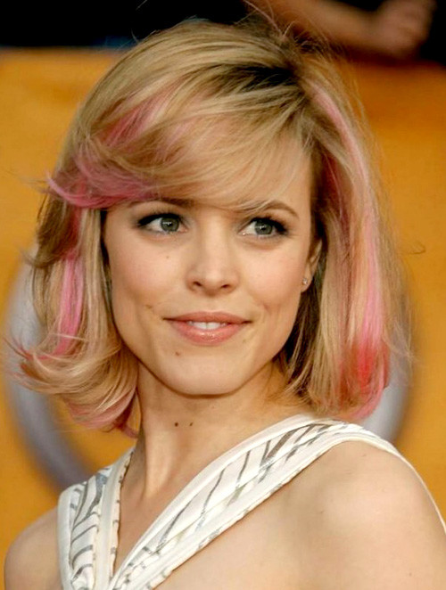 Pink-hair-streaks-blonde-hair Trendy Short Celebrity Hairstyles