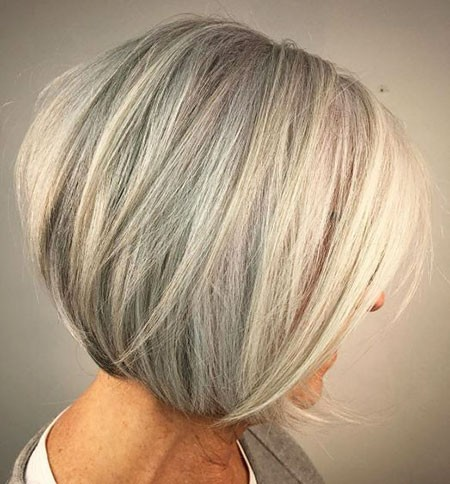 Platinum-Inverted-Bob Short Hairstyles for Women Over 50