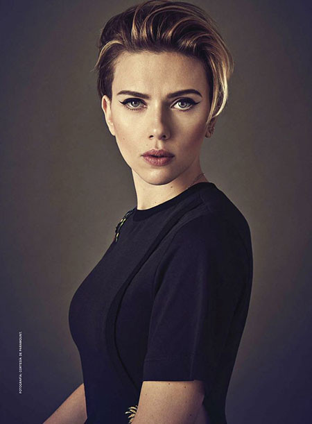 Short-Hairstyles-with-Bangs Best Scarlett Johansson Short Hair