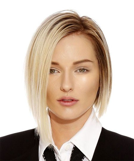 Straight-Angled-Bob Short Hairstyles for Oblong Faces
