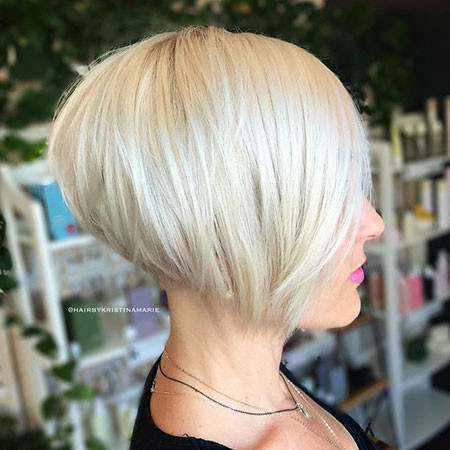 Trendy-Graduated-Bob Best Short White Blonde Hair