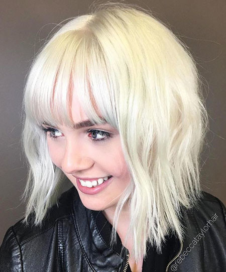19-Platinum-Blonde-Lob-with-Bangs-632 Short Blonde Hair with Bangs