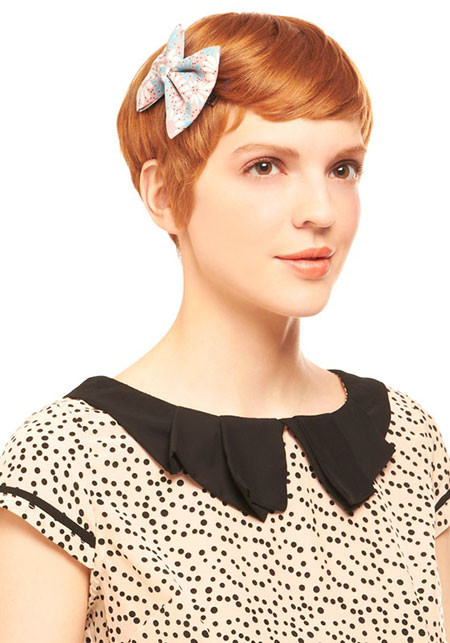 32-Wear-Bows-in-Short-Hair-582 Short Hairstyles for Women