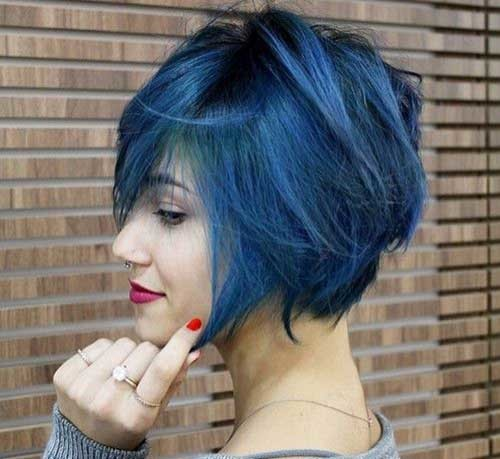 Blue-Color-Hair Really Trending Short Stacked Bob Ideas