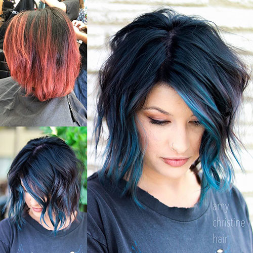 Blue-Hair Best Short Hairstyles for Girls 2019