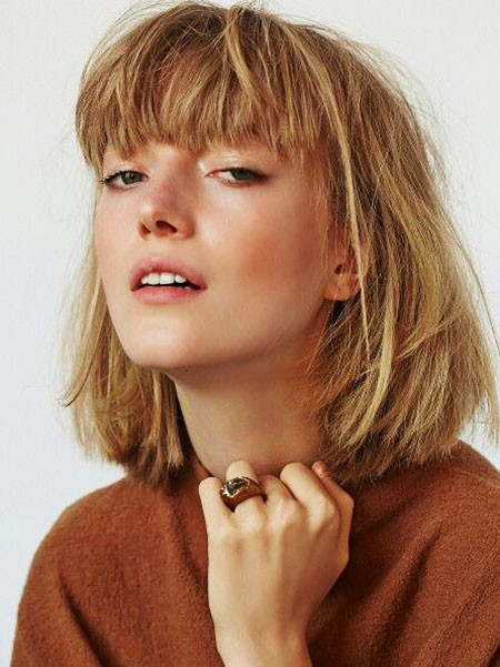 Blunt-Bangs Short Blonde Hair with Bangs