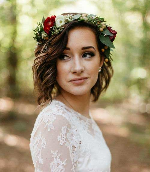 Floral-Crown Most Beautiful Short Hairstyles for Weddings