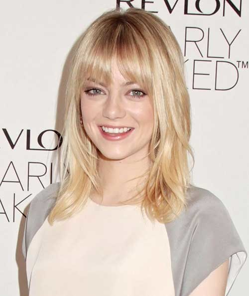 Short-Blonde-Medium-Length-Haircut-with-Bangs Short Medium Length Haircuts
