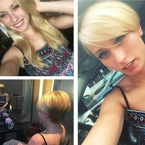 Blonde-Hair Before and After Pics of Short Haircuts