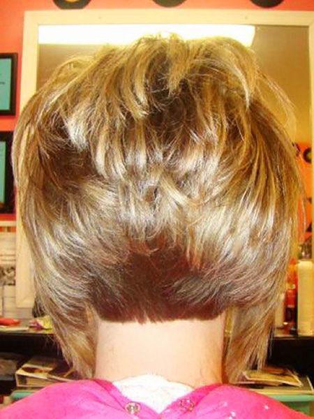 Back-View-of-Stacked-Bob Short Bob Haircuts 2019