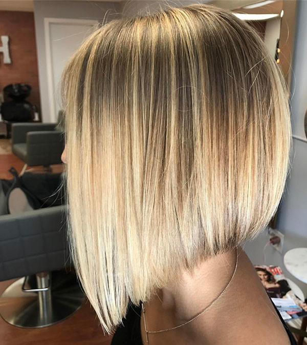 Blonde-Balayage-Bob-Straight-Hair Short Straight Hairstyles 2019