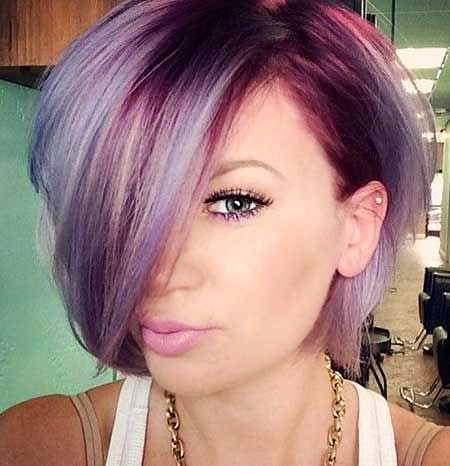 Blonde-Hair-Purple-Roots Hair Color Ideas for Short Haircuts