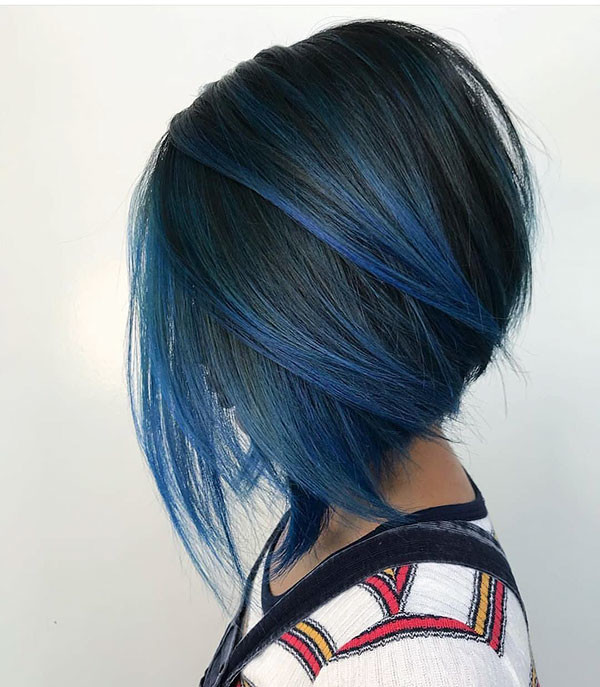 Bob-Hairstyle-with-Blue-Highlights Best New Bob Hairstyles 2019