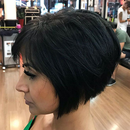 Brunette-Layered-Bob Short Inverted Bob Hairstyles