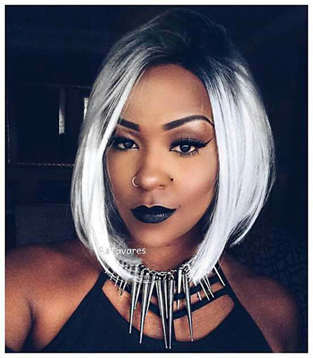 Brunette-with-Platinum-Hair Best Short Hairstyles for Black Women 2018 – 2019