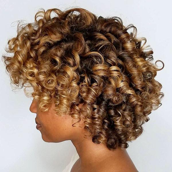 Caramel-Hir-Color Short Haircuts for Black Women 2019
