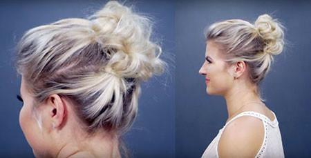 Curly-Hair-Bun Hair Buns for Short Hair