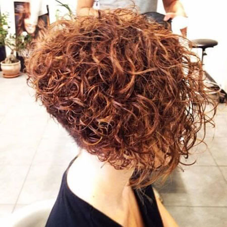 Curly-Stacked-Bob-Haircuts Popular Short Curly Hairstyles 2018 – 2019
