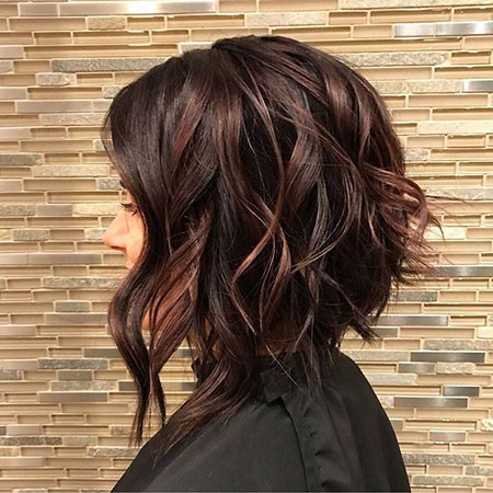 Dark-Angled-Hairstyle Hair Color Ideas for Short Haircuts