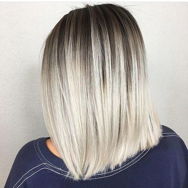 Dark-Shadow-Root-Blonde-Hair Short Straight Hairstyles 2019