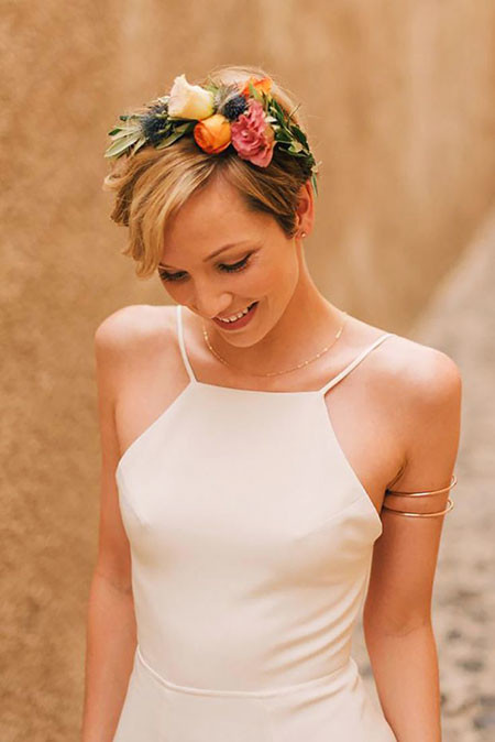 Flower-Crown-on-Pixie-Hair Wedding Hairstyles for Short Hair