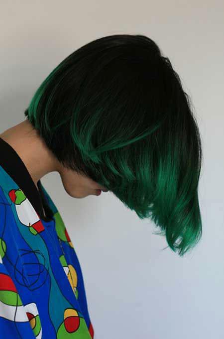 Green-Ombre-Hair Hair Color Ideas for Short Haircuts