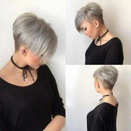 Grey-Colored-Stacked-Short-Hair Charming Stacked Short Haircuts for Women