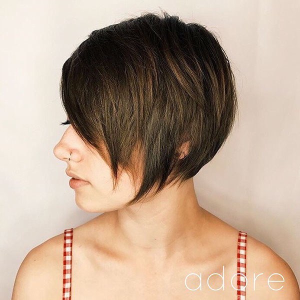 Long-Layered-Pixie-Cut-1 Short Hairstyles with Bangs 2019