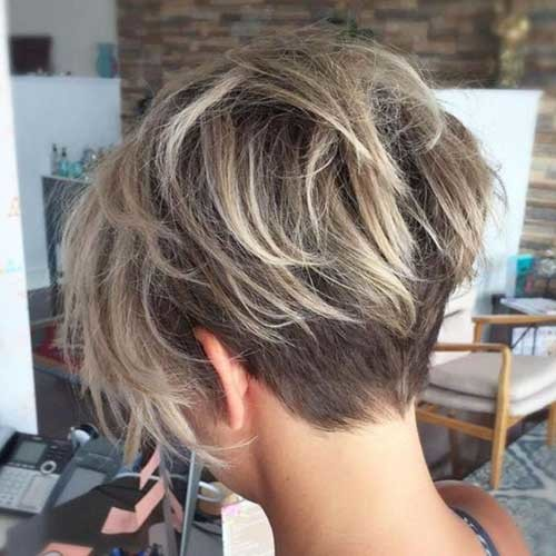 Long-Shaggy-Pixie-Cut Charming Stacked Short Haircuts for Women