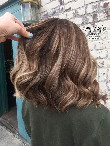 Lowlight-Balayage-for-Short-Bob Popular Short Haircuts 2018 – 2019
