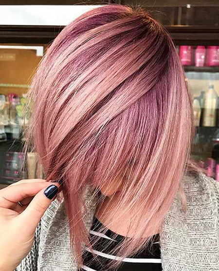Pink-Hues Hair Color Ideas for Short Haircuts