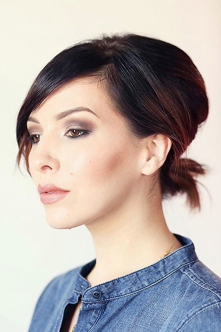 Ponytail-with-Bangs Ponytail Hairstyles for Short Hair