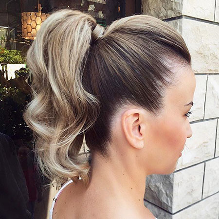 Ponytail-with-Lowlights Ponytail Hairstyles for Short Hair