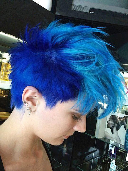 Punk-Style-in-Blue-Color Hair Color Ideas for Short Haircuts