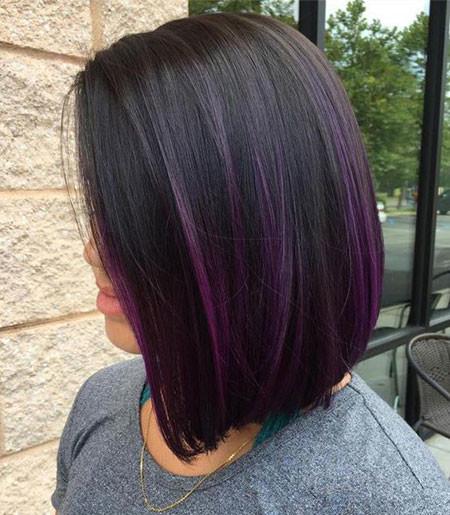Purple-Highlights-On-Black-Hair Popular Short Haircuts 2018 – 2019