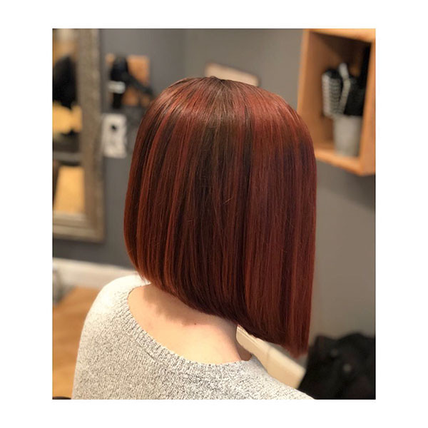 Red-Inverted-Bob Short Straight Hairstyles 2019