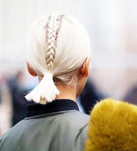 Short-Blonde-Braided-Ponytail Ponytail Hairstyles for Short Hair