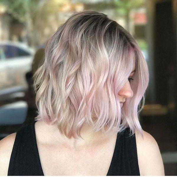 Short-Blonde-Pink-Hair Popular Short Wavy Hairstyles 2019