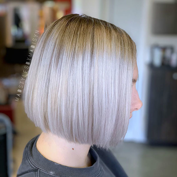 Short-Blonde-Straight-Haircut Short Straight Hairstyles 2019