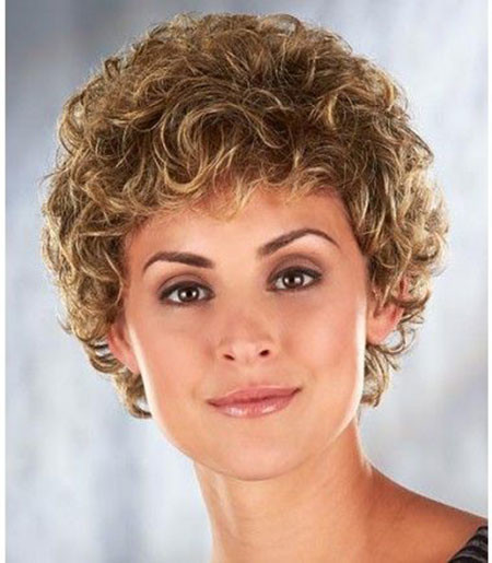 Short-Curly-Hair-with-Bangs Popular Short Curly Hairstyles 2018 – 2019