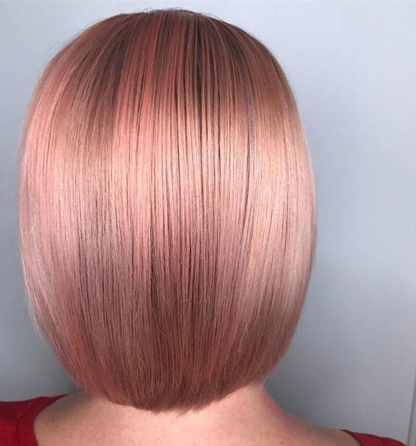 Short-Rose-Gold-Hair Short Straight Hairstyles 2019
