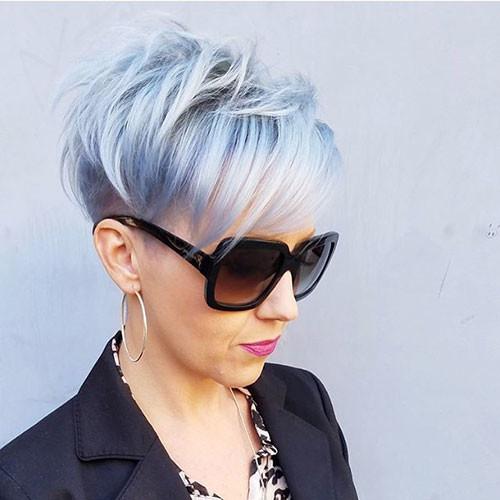 Short-Silver-Blue-Hair-Color Short Layered Haircuts 2018 – 2019