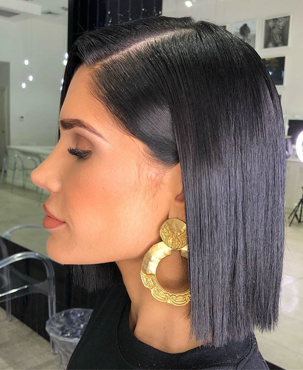 Short-Straight-Black-Hair Short Straight Hairstyles 2019