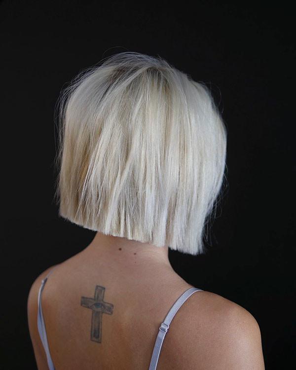 Straight-Bleach-Blonde-Hair Short Straight Hairstyles 2019