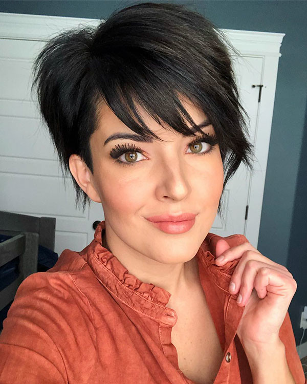 Thick-Hair Short Hairstyles with Bangs 2019